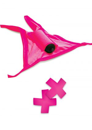 Neon Vibrating Crotchless Panty And Pasties Set Waterproof Pink