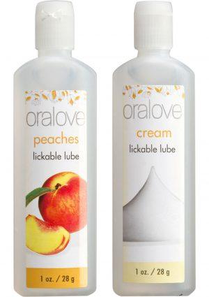 Oralove Delicious Duo Lickable Peaches And Cream Lubes 1 Ounce 2 Each Per Set