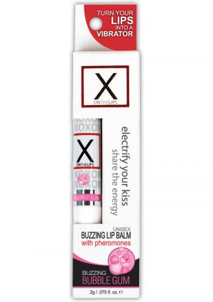 X On The Lips Buzzing Lip Balm With Pheromones Bubble Gum .75 Ounce