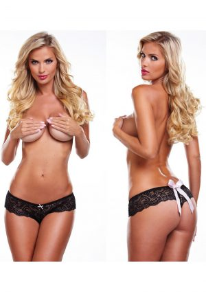 Secrets Vibrating Bow Back Thong Black