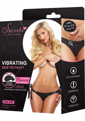 Secrets Vibrating Side Tie Panty Black