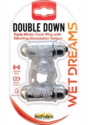 Wet Dreams Double Down Triple Motor Cockring With Vibrating Stimulating Tongue Waterproof Clear