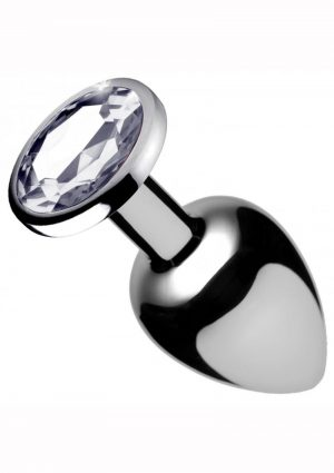 Booty Sparks Clear Gem Small Anal Plug Silver 2 Inches