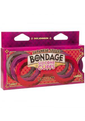 Japanese Style Bondage Silicone Cuffs Large Purple 6.9 Inch