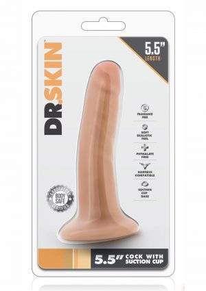 Dr. Skin Cock W/suction 5.5 Harness Compatible