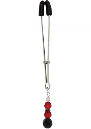 Beaded Clit Clamp With Tweezer Tip Red