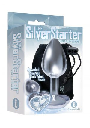 The Silver Starter Jeweled Hearts Plug Stainless Steel Clear 2.8 Inch