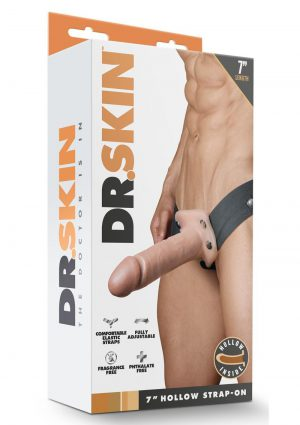 Dr Skin Hollow Strapon 7 inch Non Vibrating Flesh