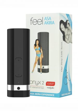 Kiiroo Onyx2 Asa Akira Experience Interactive Vibrating Masturbator Set For Men Black