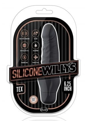 Silicone Willy`s Tex Vibrating Dildo Multi Speed Splashproof  6.25 Inch Black