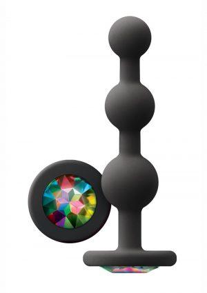 Glams Ripple Silicone Plug Rainbow Gem 4.49in – Black