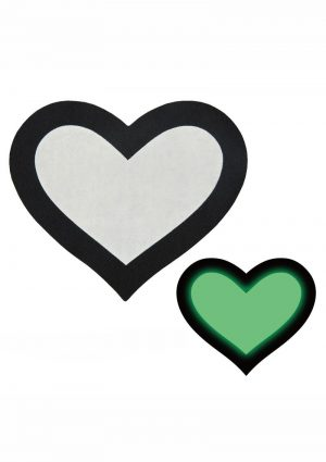 Peekaboo Glow In The Dark Hearts Pasties – Black/Green