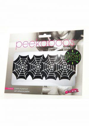 Peekaboo Glow In The Dark Webs Pasties - Black/Green