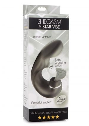 Inmi Shegasm 5 Star Tapping Silicone Rechargeable G-Spot Vibrator With Suction - Black