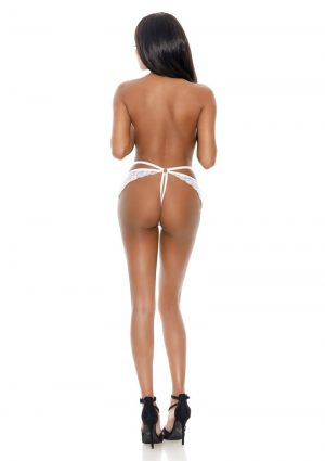 Barely Bare Butterfly Strap Lace Thong Panty – O/S – White